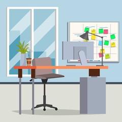 Office Interior Vector. Modern Workplace. Interior Office Room. Flat Illustration