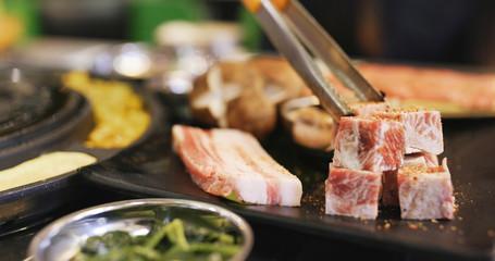 Korean style bbq in restaurant