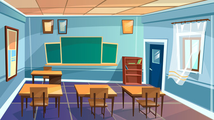 Vector cartoon empty elementary high school, college, university classroom background. Illustration room interior indoor objects - open window desk table chalkboard chair. Learning, education backdrop