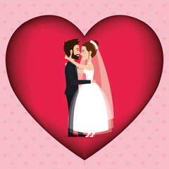 romantic picture of just married couple in heart