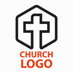 Christian churches logo line art in the form of a cross intended for christian religious organizations.
