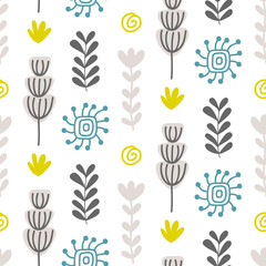 Floral seamless pattern with colorful hand drawn flowers