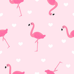 Wall Mural - Flamingo seamless pattern vector illustration. Cute Flamingo with white hearts on pink background
