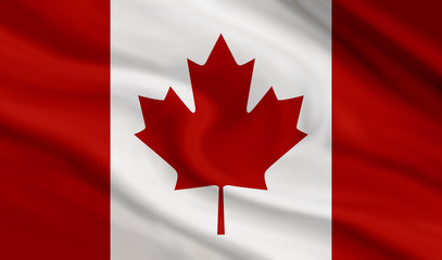 Canada flag of canvas texture background