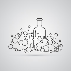 Carved silhouette flat icon, simple vector design. Cartoon cloud of foam with bottles. Set for illustration for liquid, chemical laboratory, cosmetical tools and cosmetics