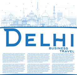 Outline Delhi India City Skyline with Blue Buildings with Copy Space.
