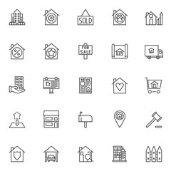 Real estate outline icons set. linear style symbols collection, line signs pack. vector graphics. Set includes icons as building and fence, sold house, for sale signboard, street billboard, car garage