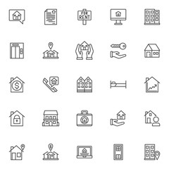Estate outline icons set. linear style symbols collection, line signs pack. vector graphics. Set includes icons as house in chat bubble, contract, house for rent sign board, computer monitor, office