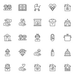 Family outline icons set. linear style symbols collection, line signs pack. vector graphics. Set includes icons as couple person, photo album, baby carriages pram, house, caring hands, church, mother