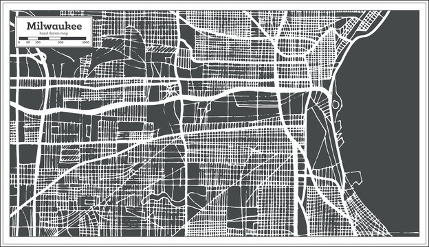 Milwaukee Wisconsin USA City Map in Retro Style. Outline Map.
