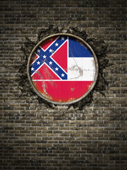 Old Mississippi flag in brick wall