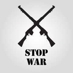 Riffle isolated flat vector icon as stop war poster