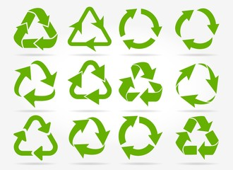 Recycled arrows. Green reusable arrow icons, eco recycle or recycling vector signs isolated on white background