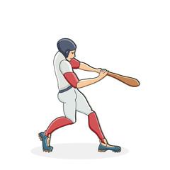 Vector hand drawn illustration of a baseball player hitting the ball. Cute cartoon character.  Baseball player.