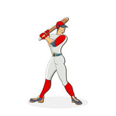 Vector hand drawn illustration of a baseball player hitting the ball. Cute cartoon character.  Baseball player.