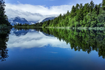 beautiful scenic of lake matheson most popular traveling destination in west coast southland on new zealand