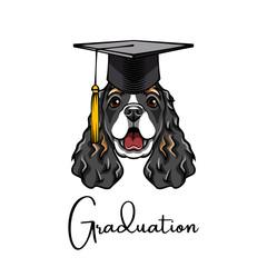 Spaniel Graduate. Graduation cap hat. Dog student. Vector.