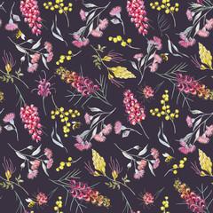 Watercolor australian grevillea pattern