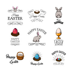 Easter bunny, eggs, nest, swirls, decoration. Easter design elements set. Vector.