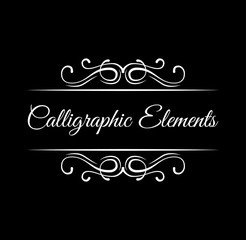 Calligraphic swirls design elements. Scroll filigree frames. Page decorations. Vector.