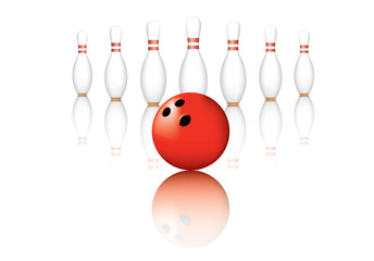 Bowling Red Pin Balls  on background