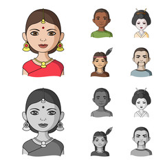 Indian woman, african, japanese, indian. Human race set collection icons in cartoon,monochrome style vector symbol stock illustration web.