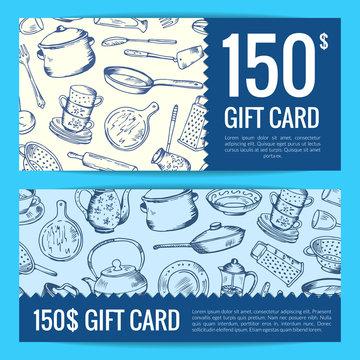 Vector discount voucher or gift card kitchen