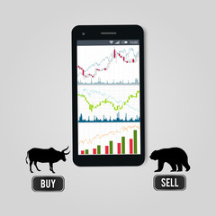 Stock exchange online forex trading concept - mobile phone with dashboard of stock charts on screen , silhouettes of bear and bull and buy and sell buttons. Vector illustration.
