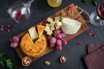 Cheese, fruit platter and wine