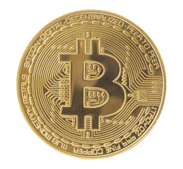 golden bitcoin virtual coin isolated on white background