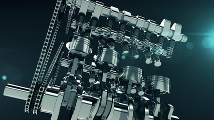 Low-angle shot of a working V8 engine with lens flare effect. Pistons, camshaft, valves and other mechanical parts are in motion.