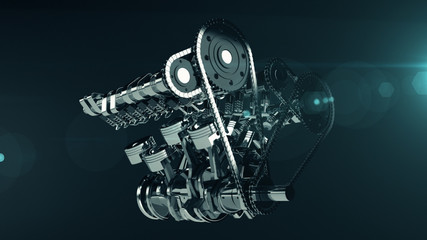 3D shot of a working V8 engine with lens flare effect. Pistons, camshaft, valves and other mechanical parts are in motion.