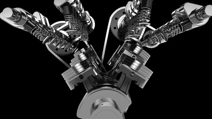 Close-up shot of a working V8 engine. Pistons, camshaft, valves and other mechanical parts are in motion.
