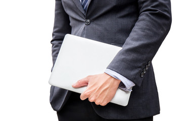 young smart business man hold laptop, computer, for do his work in office on isolated, white, background