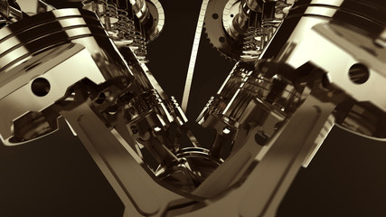 Close-up shot of a working V8 engine with lens flare effects. Pistons, camshaft, valves and other mechanical parts are in motion.