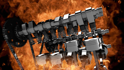 CG model of a working V8 engine with explosions and flames. Pistons, camshaft, valves and other mechanical parts are in motion.