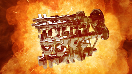 3D model of a working V8 engine with explosions and flames. Pistons, camshaft, valves and other mechanical parts are in motion.