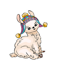 Little pretty llama in doodle style. Colorful vector illustration isolated on a white background.