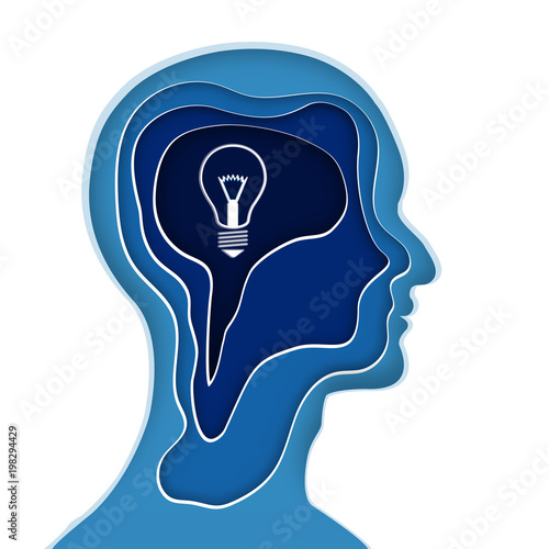 Abstract Origami Layer Of Human Head And Light Bulb Brain On Background As Business Science