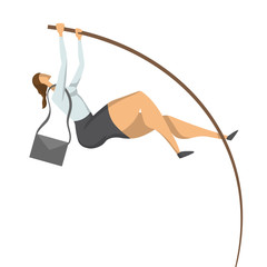 Businessman, a woman in a business suit doing pole vaulting. Jump to success, concept vector illustration, isolated on white background.