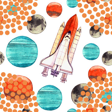 watercolor space illustration with  rocket and planet seamless pattern isolated on white background