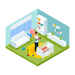 Isometric Colorful Children Care Template