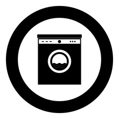 Washing machine the black color icon  in circle or round