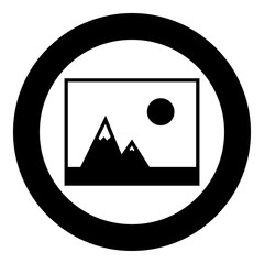 Picture of mountains and Sun icon the black color icon  in circle or round