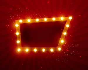 Glowing lights retro frame for advertising design. Special light effects. Vintage stage lights backdrop. Vector Background show. Illuminated round realistic banner. 3D
