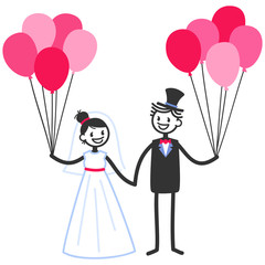 Vector wedding illustration of happy stick figures bridal couple holding hands and pink balloons isolated on white background, wedding invitation template