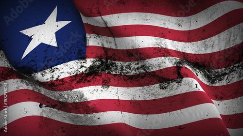 Liberia grunge flag waving loop  Liberian dirty flag blowing