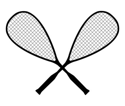 Vector black silhouette of squash or racketball crossed rackets with ball