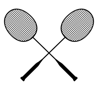 Vector black silhouette of crossed badminton rackets with shuttlecock