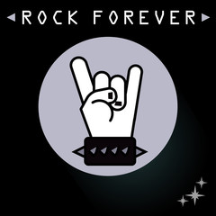 Rock Sign with Black Background. Vector, illustration eps10